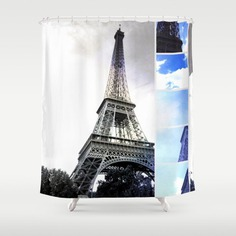 Eiffel Tower Paris in Black and White with Blue Stripe Shower Curtain