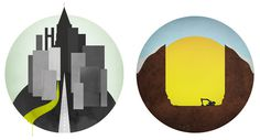 Global Landscapes #illustration #graphic #landscape #city #world #sunset #circle #globe #global #dig