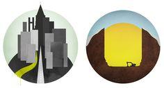 Global Landscapes #globe #city #world #graphic #landscape #illustration #circle #sunset