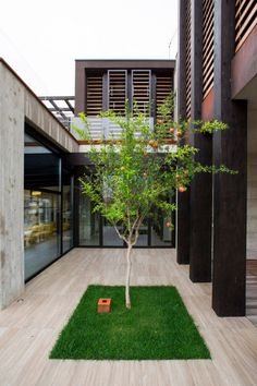 Modern Concrete Block House with Wooden Patio Attached