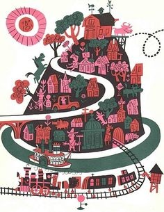 The Day the Cow Sneezed James Flora ~ Harcourt, 1957 #illustration