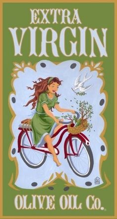 Extra Virgin Olive Oil Co. #lettering #girl #olive #bike #oil