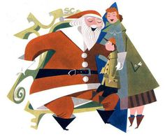 "Mid century Santa Raymond Pratt. From the 1952 ""What's New"" by Abbott Laboratories #illustration #santa"