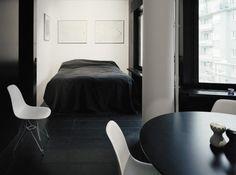 bed, chairs, dark floors #dark #floor