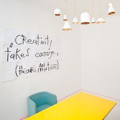 Annvil Office, Alberta Street, by Anna Butele #courage #creativity #yellow #orange #living #blue #room