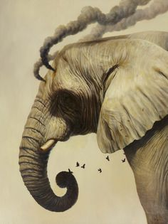 Smoke signals - Martin Wittfooth #smoke #trunk #tusk #elephant #illustration #nature #painting #animal