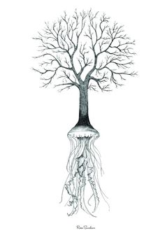 Jelly Tree #ink #white #tree #design #black #illustration #art #and #jelly #sketch