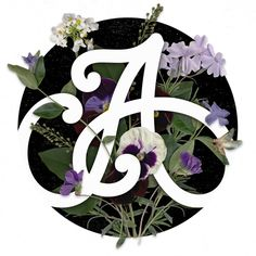 A Monogram with Photographed Flowers