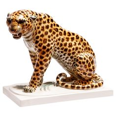 Sitting Leopard - Albert Storch for Schwarzburg #leopard #figure #porcelain