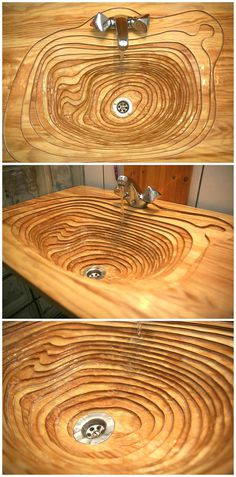 The best sink design ever made from wood. If I were to remake this I would use a router. #layers #wood #sink