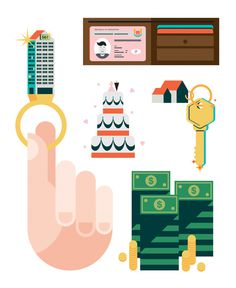 Game of Homes Illustrations #hand #money #life #vectors #monocle #investment #success #game #of #home #illustrations #angela son