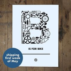 B is for Bike - anthonyoram #screen #print #bike #typography