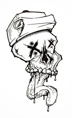 1 Notes/rHide #sketch #skull #black and white #drawing #ink #grotesque