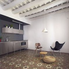 Dezeen architecture and design magazine #tiles #wooden #modern #beams #kitchen #mosaic