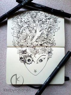 MOLESKINE DOODLES: My fair lady by *kerbyrosanes on deviantART #doodle #ink #and #illustration #pen #moleskine