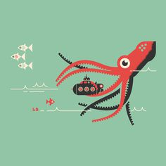 Submarine, by Luke Bott #graphic design #design #illustration #creative #sea #submarine #octopus #inspiration
