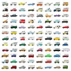 Rad Cars With Rad Surfboards On Them #illustration #cars #surf