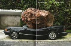Still life with Spirit and Xitle, 2007, site specific installation, Basalt stone, 1992 Chrysler automobile Spirit, acrylic paint. Courtesy o