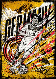 World Cup 14 - Germany/Müller Illustration #football #soccer #sports #eagle #handdrawn #lettering #poster #speed #mountain #stars