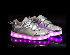 Women Metallic Sirius Velcro LED Luminous Shoes Silver