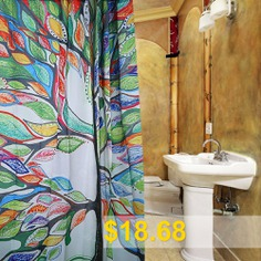 Polyester #Shower #Curtain #with #12 #Plastic #Hooks #- #COLORMIX