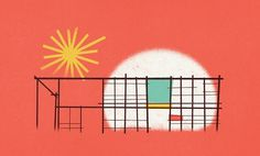 Dribbble - eamesHouseLarger.jpg by Zach Graham #zach #house #color #illustration #graham #eames