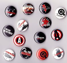 a random assortment of buttons from my old band, The Agenda. #badges #button badges #punk #rock n roll