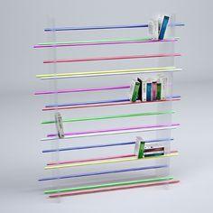 Bibliothèque barres parallèles: Vidame Création #aluminum #paralleles #book #bars #shelf #anodized #pmma