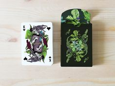 AO MATU design playing cards by Nastya KFKS. Floral and tropical design with great characters. #kfks #cards #graphic #playing #design #store #illustration #character