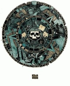 HOME : simonprades.com #simon #wheel #illustration #aztec #circle #skull