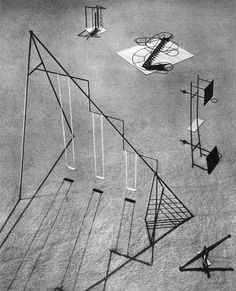 Isamu Noguchi's Playground Proposal for UN's New York Headquarters, 1952. #architecture #sculpture #playground #form