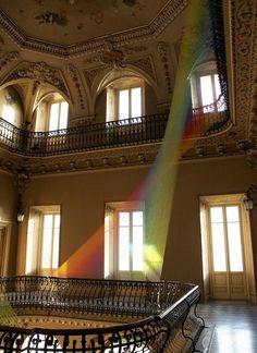 Gabriel Dawe textile art installation in classic old mansion