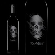 Red Milk : TACN Studio #canada #packaging #vancouver #design #black #wine #skull #grey