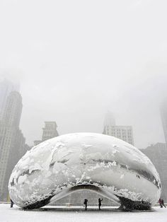 "CJWHO ™ (Chicago Snow Storm by SMH The sculpture ""Cloud...) #chicago #snow #the #photography #bean"
