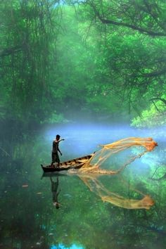 Tumblr #tropical #photography #boat #reflection #fishing #jungle #green
