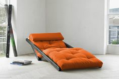 A combination of a chaise lounge chair and a low bed, the Figo Futon Chaise Lounge takes up minimal space and is not only stylish but also p #product #furniture #design #industrial