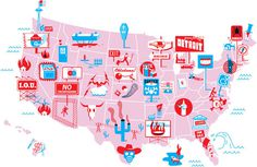 50 Worst States #illustration #inforgraphic #nicholas blechman
