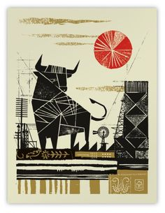 58759.680x1000x0.png (PNG Image, 611x788 pixels) #woodcut #screenprint #illustration #poster #bull