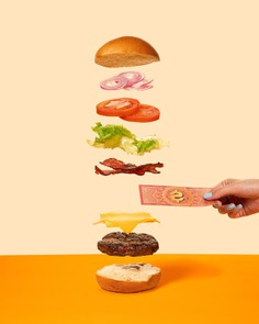 Pit's Burger Content - Mindsparkle Mag Asa Onze Creative Studio developed a series of photos and videos for a Burger Shop in Brasil called Pit's Burger. The client wanted something minimalistic, so the studio created a surreal yet simple environment, where bacons fly and food can be balanced on a coin. #logo #packaging #identity #branding #design #color #photography #graphic #design #gallery #blog #project #mindsparkle #mag #beautiful #portfolio #designer
