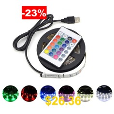 SL-306 #5M #USB #Charging #5V #RGB #Waterproof #LED #Strip #Light #with #Remote #Control #for #Living #Room #Office #- #BLACK