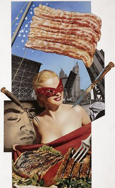 Creative Review - The American Way of Life by Josep Renau #renau #chicago #meat #america #bacon #collage #miss
