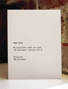 dear noah letterpress card by shopsaplingpress on Etsy #card #letterpress
