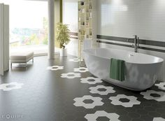 Hexagonal Floor Tiles by Equipe Ceramica - floor porcelain tile bathroom #tiles #design #bathroom #bathtub #hexagon