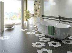 Hexagonal Floor Tiles by Equipe Ceramica - floor porcelain tile bathroom