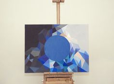 'inverted japanese flag' by 486made.me, acrylic on canvas, 2012 #canvas #circle #acrylic #paint #colors #blue