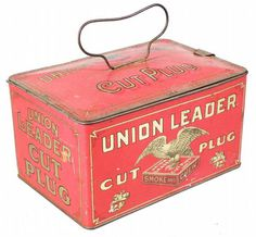Union Leader Cut Plug Tobacco Lunch Box Tin Showtime Auction Services #vintage #packaging #tobacco