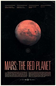 Mars - Under the Milky Way - Ross Berens #space #mars #posters #planets #typography