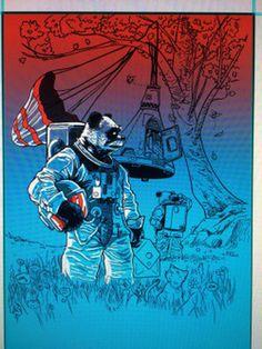 mrdoyle, illustration, panda, astronaut, Coachella