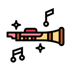 See more icon inspiration related to clarinet, music instrument, music notes, wind instrument, orchestra and music on Flaticon.