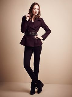 Burberry London London Boiled Wool Back Peplum Coat #fashion #maroon #jacket #burberry